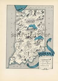 Indianapolis Zip Code Map by Indiana Map 1931 Original Vintage Picture Map Charming Antique