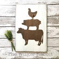 farmhouse animals kitchen decor wood sign the willow rabbit
