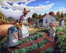 the family garden family garden nostalgic appalachia farm art landscape painting prints