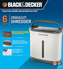 Cross Cut Paper Shredders Black U0026 Decker 6 Sheet Crosscut Paper Shredder Walmart Com