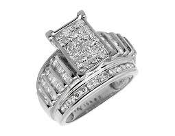 10k wedding ring 10k white yellow gold bridal baguette princess cut diamonds
