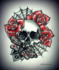 mariola weiss made a simple stencil of skull roses with spider web