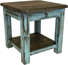Rustic End Tables Rustic Antique Turquoise End Table Turquoise End Or Sidetable