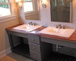 grey wooden open shelf vanity with drawers plus brown wooden top