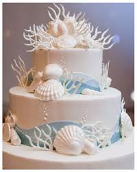 sea and beach themed wedding cake with sea shells blue and white