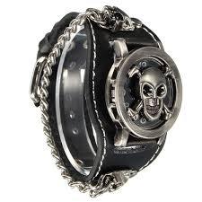 classic skeleton ring holder images Vintage punk gothic skull case leather band men bracelet quartz jpg