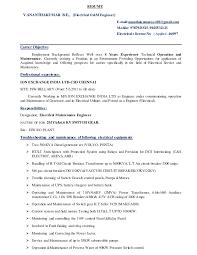 4 Years Experience Resume Resume Electrical O U0026m Engineer