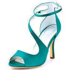 woman high heel ankle strap sandals teal purple peep toe