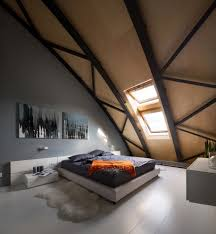 bedroom in a modern loft apartment formerly a commercial building