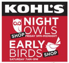 kohls owls early birds sale friday and saturday