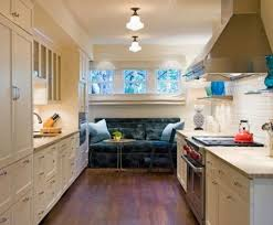kitchen modern and spacious galley kitchen design featuring kitchen vintage white galley kitchen design ideas with nice sofa chair and small round table