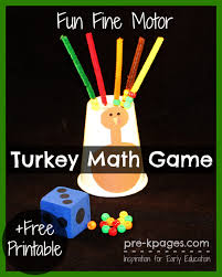 motor turkey math free printable motor skills and math