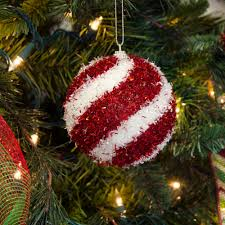 100mm fuzzy tinsel ball ornament box of 4 red u0026 white swirl