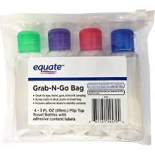 Equate grab n go bag travel bottles set 5 pc