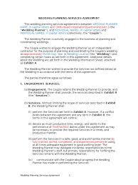 wedding planning services wedding planning services agreement indemnity employee benefits