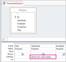 use parameters to ask for input when running a query access