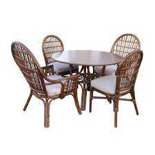 5 pcs brown patio cushioned rattan dining table chair set outdoor