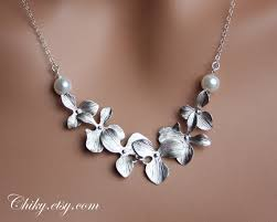 sterling silver wedding gifts orchid necklace with pearls sterling silver wedding necklace