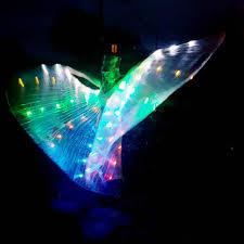 light up fairy wings rainbow led light up transparent shiny hologram pleated rave