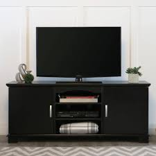 Tv Tables For Flat Screens Walker Edison Black Tv Stand For Tvs Up To 65