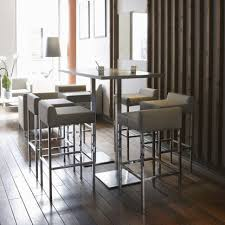 Stainless Steel Bistro Table Contemporary Bistro Table Wood Veneer Brushed Stainless Steel