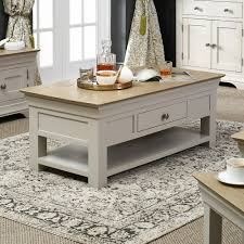 country grey painted oak coffee table with shelf and drawer