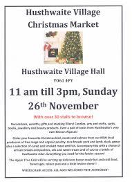 husthwaite christmas market on 26 november at 11 00