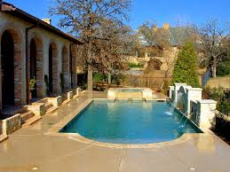 decor backyard landscaping ideas with pool design and waterfalls