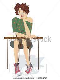 Picture Of Student Sitting At Desk Teenage Books Canvas Shoes Student Stock Vector 198738713