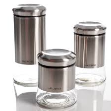 mr coffee gear 3 piece glass canister set stainless steel