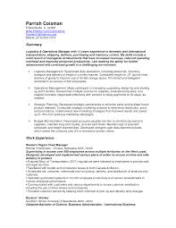 Resume Sample Logistics by Logistics Resume