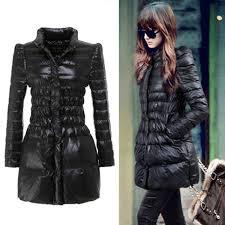 women s duck down coat slim puff sleeve long winter outerwear