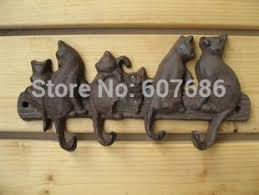 2 pieces cast iron decorative 6cats coat rack with 4 hooks key