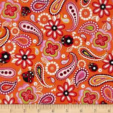 Paisley Home Decor Kanvas Luv Bugs Luv Bug Paisley Orange Discount Designer Fabric