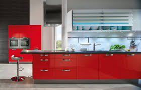 glamorous gloss acrylic red kitchen cabinets with white wall
