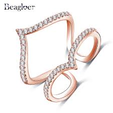 aliexpress buy beagloer new arrival ring gold beagloer new design womens finger ring gold color micro inlay