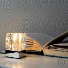 modern glass ice cube touch table lamp with chrome base amazon co