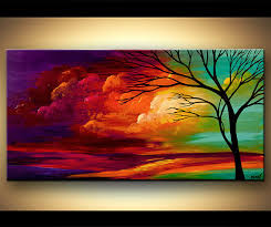 original abstract modern landscape made original 48 x 24 abstract modern turquoise purple tree