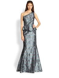 david meister oneshoulder peplum gown in gray lyst