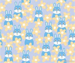 rabbit material 4 designer rabbit flowers the continuous background vector