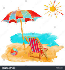 Beach Chair Umbrella Set Watercolor Summer Beach Set Sea Sun Stock Vector 261358034