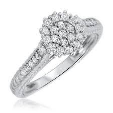 2 engagement rings 1 carat trio wedding ring set 14k white gold