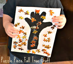 puzzle piece fall tree craft building our story
