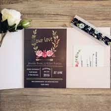 Wedding Invitation Pocket Pink And Black Pocket Wedding Invitations With Gold Wording