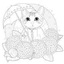 coloring page of a kitty cat rainbow mandala by kchung cats coloring pages for adults