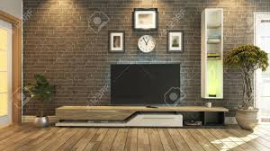 tv room salon or living room with brick wall plant and tv design