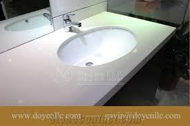 Athens White Quartz Bathroom Vanity Top Wt Double Oval Sinks From - Quartz bathroom countertops with sinks