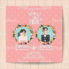 wedding invitation card templates cartoon character bride and