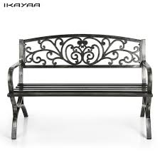iron park benches ikayaa 3 seater iron patio garden park bench chair metal porch