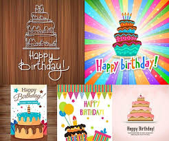 happy birthday cards template with cake and candles vector free